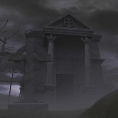 3d graveyard crypt oak