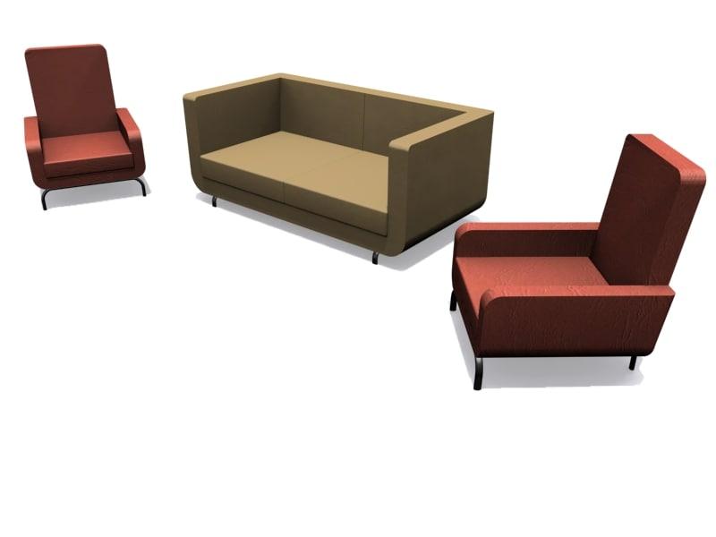 minotti dubuffet armchair sofa 3ds