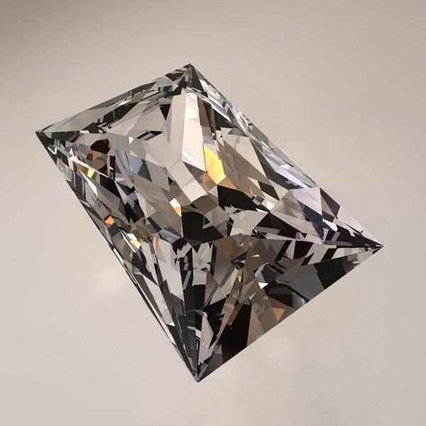 square princess cut gemstone 3d model