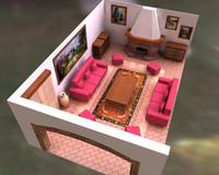 livingroom house 3d c4d