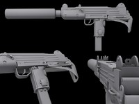 automatic 9mm uzi gun 3d model