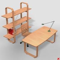 desk writing 3d model