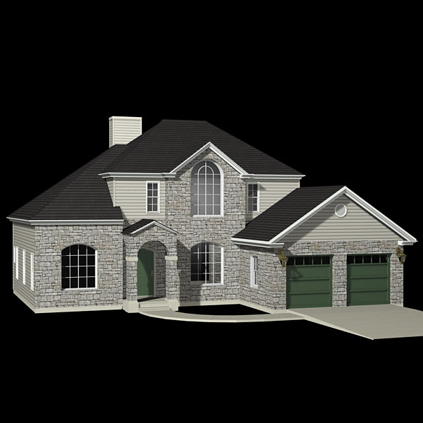 3d model two-story suburban house