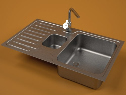 steel sink faucet 3d model