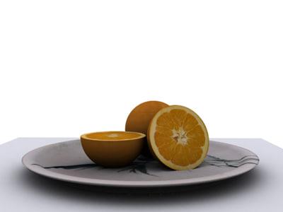 3ds max orange ceramic plate