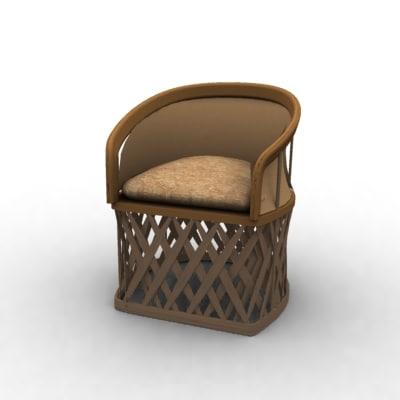 3d model wooden armchair arm chair