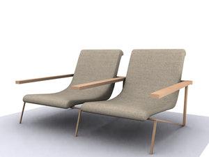 3d model double chair
