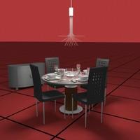 3d model dining set