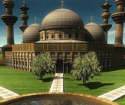 ma realistic mosque historical garden