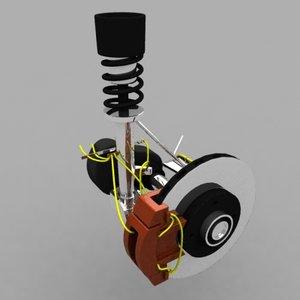 3d car suspension model