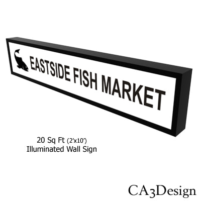 illuminated wall sign 3d model