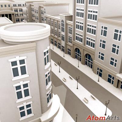 street scene city 3d max