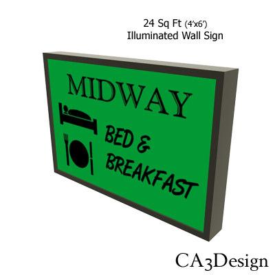 illuminated wall sign 3d max