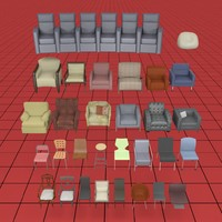 chair collection01 3d 3ds