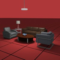 living set01 sofa chairs 3d model