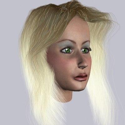 3d girl green eyes model