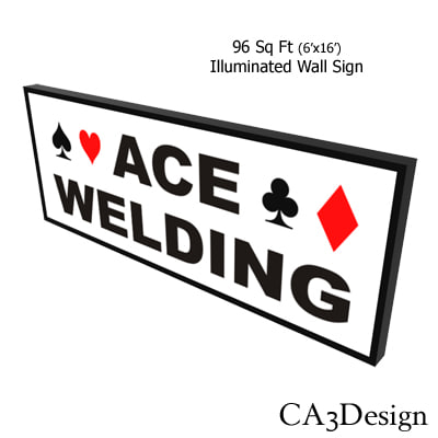 illuminated wall sign 3d max