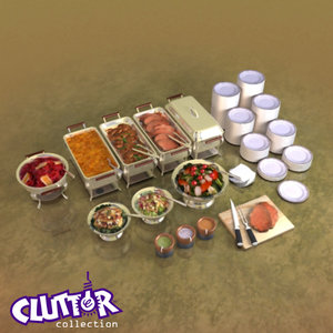 3d banquet buffet clutter model