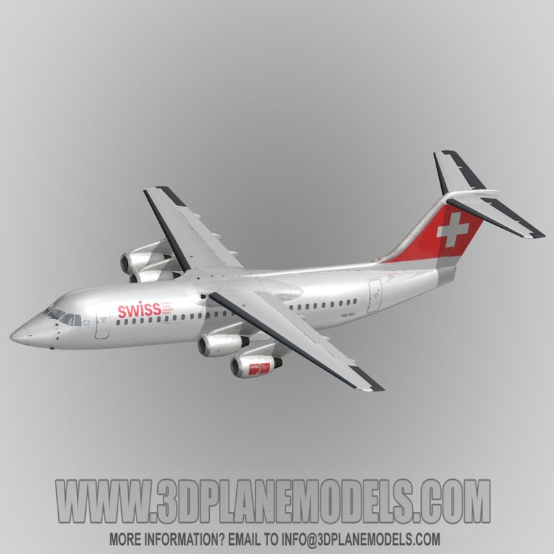 british aerospace 146-300 regional jet 3d obj
