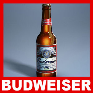 budweiser beer bottle - 3d model
