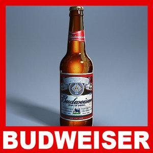 budweiser beer bottle - 3d model