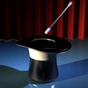 magic hat stick 3d model
