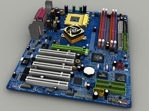 3d model of mainboard gigabyte