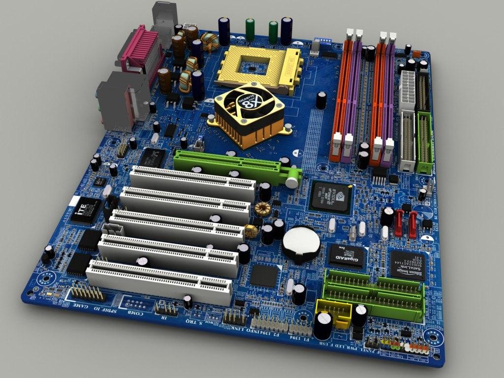 3d model of mainboard gigabyte