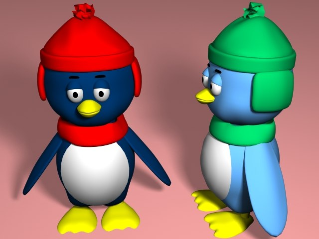 simple penguin character 3d lw