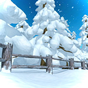 winter snowtrees snowman park 3d model
