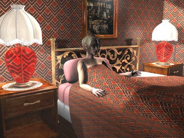 bedroom scene bed 3d model