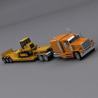Lowboy Semi Truck + Bulldozer
