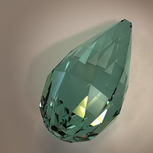 3d model of briolette gemstone