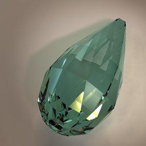 3d model of briolette gemstone