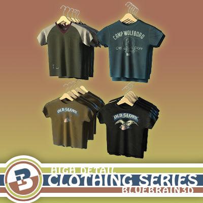 clothing - hung t-shirts 3d model