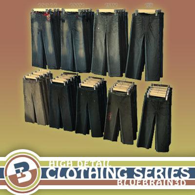 hanging pants hung clothing 3d model