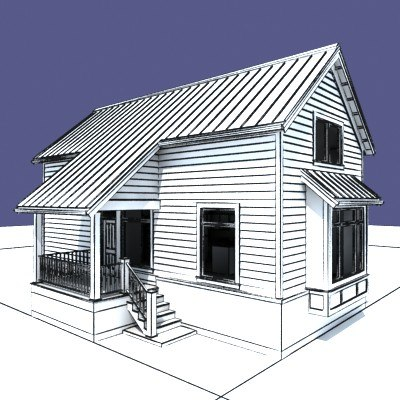 3d model of vacation house exterior