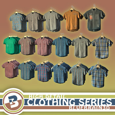 3d clothing - hung shirts model