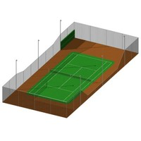 3d regulation size tennis court