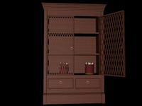 Cupboard with grille doors and drawers