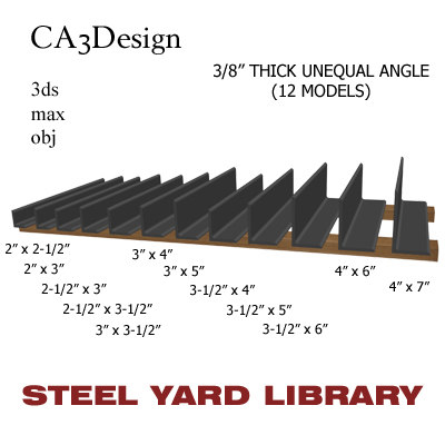 3 unequal angle 3d model