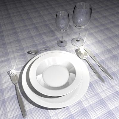 plates spoons fork 3d obj