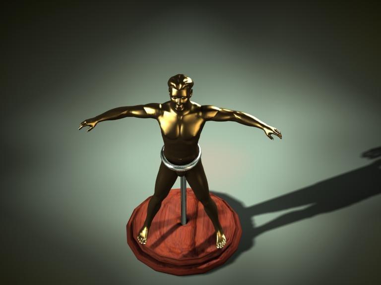 free golden statue 3d model