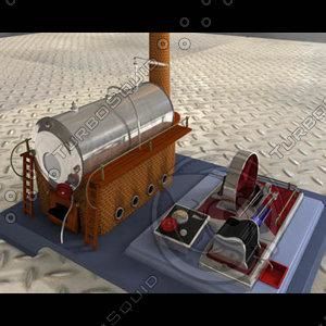 3d model toy steam steamengine engine