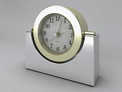 3d analog chrome desktop clock