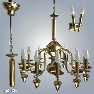 3d model chandelier lamp wall