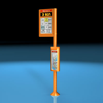 3d bus stop pole model