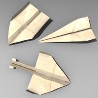 3d lwo paper plane