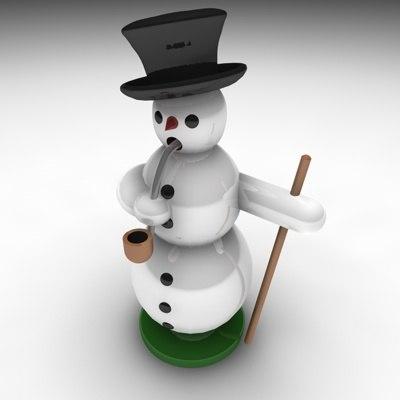 3d incense snowman
