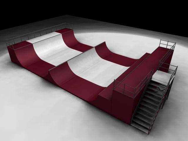 skateboard ramp 3d obj